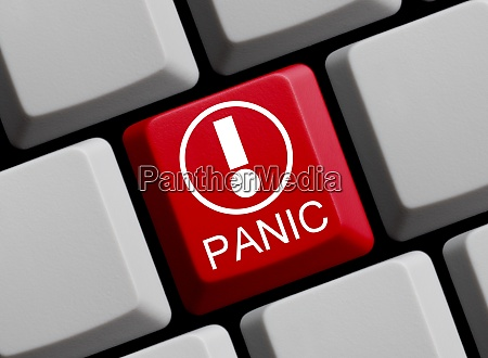 panic online red computer keyboard