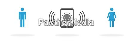 banner blue coronavirus app on mobile