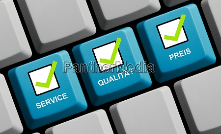 computer keyboard showing service quality price