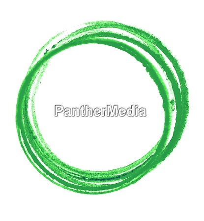 green watercolor circles on white background