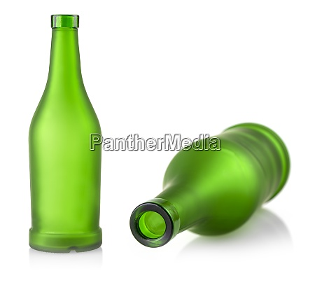 empty green glass bottle isolated on