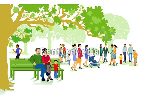 green city park with families and