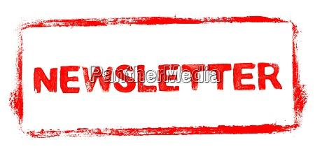 red stencil frame newsletter banner