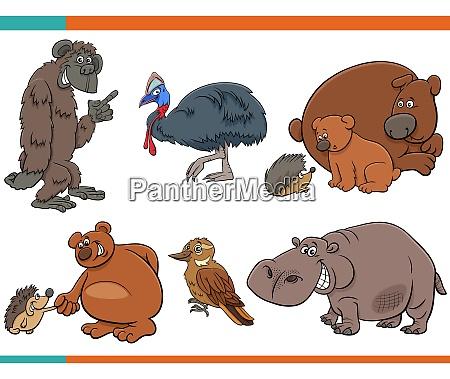 cartoon funny animal characters set