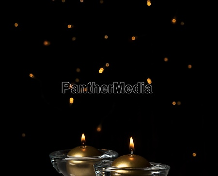 christmas candles lit