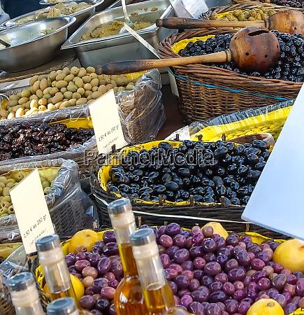 olives on provencal street market in