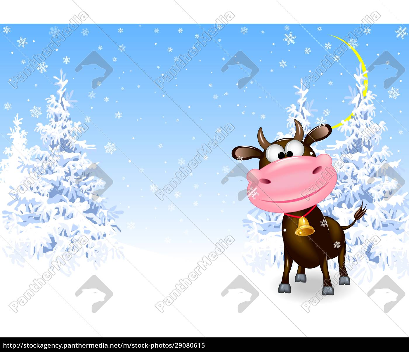 bull, in, the, winter, forest - 29080615
