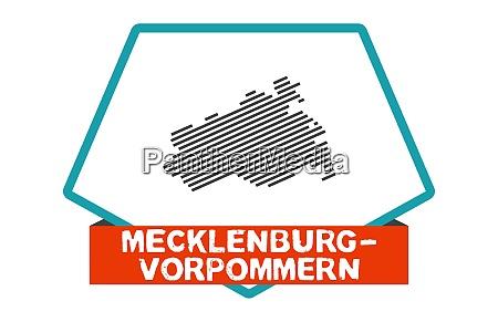 mecklenburg vorpommern map on blue red