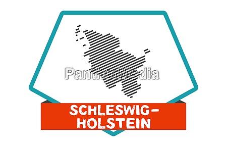 schleswig holstein map on blue red
