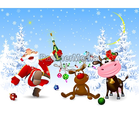 santa deer and cow celebrate christmas