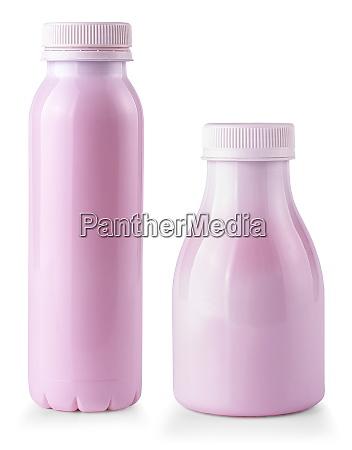 fruit yogurt bottles isolated on white