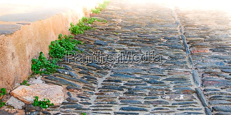stone road in old town in