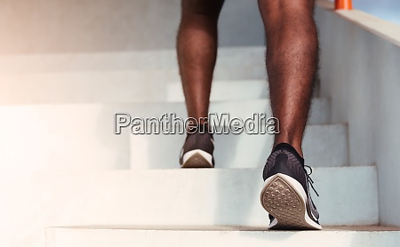 sport runner black man step running