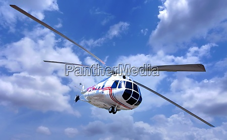 helicopter in the blue sky with