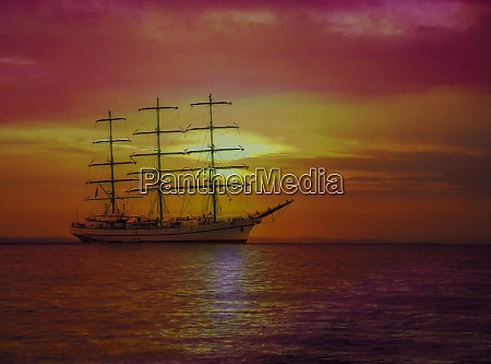 sailing ship in the sea on
