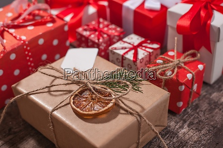 handmade, wrapped, christmas, gift, boxes, on - 29088363