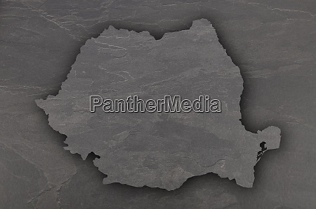 map of romania on dark slate