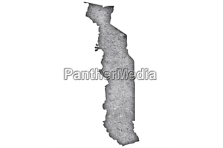 map of togo on weathered concrete