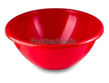red plastic bowl isolated on white