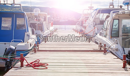 wooden pier for motor boats and