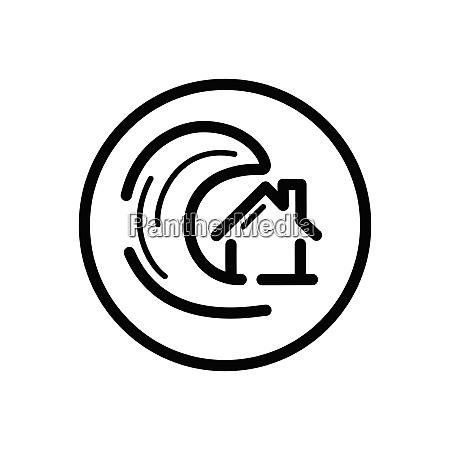 tsunami outline icon in a circle