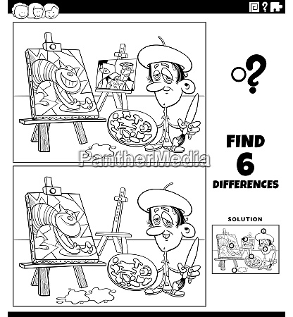 differences educational game with painter coloring