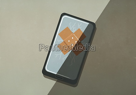 bandage over cracked smart phone screen