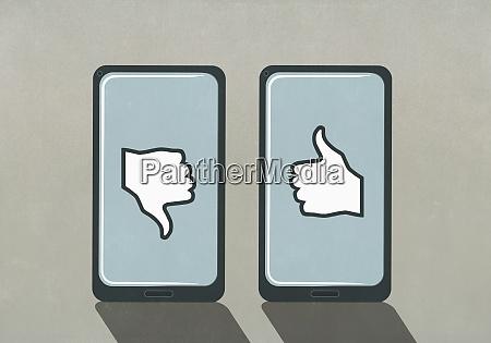 thumbs up and thumbs down symbols