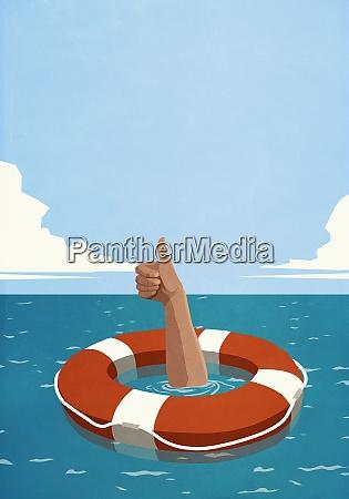 sinking man below life ring gesturing