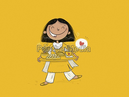 happy indian girl with tray of