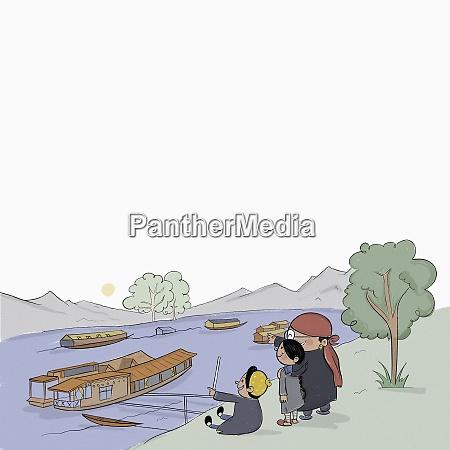 kashmiri family watching houseboats on jhelum
