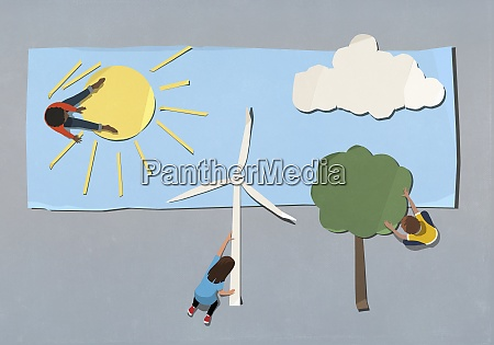 kids arranging environment and wind turbine