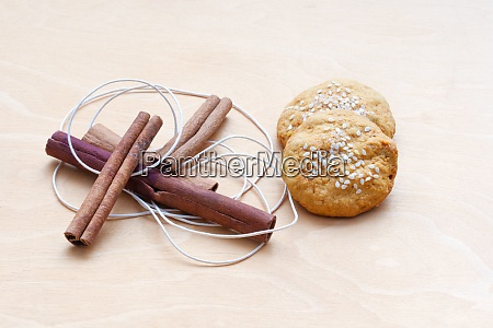 biscuits cinnamon sticks and a cord