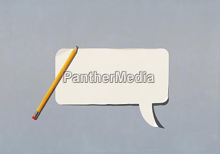 pencil over blank speech bubble