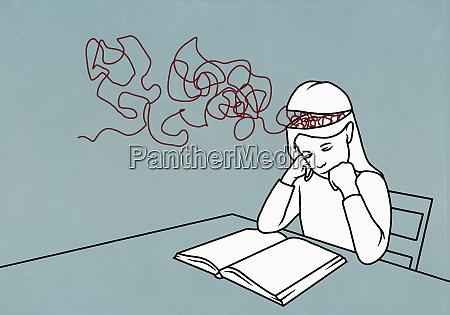 strings in brain of girl reading