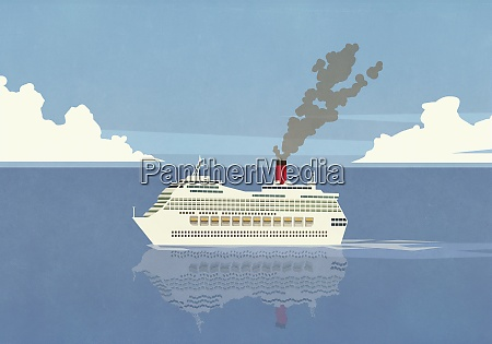 smoke emitting from cruise ship smokestack