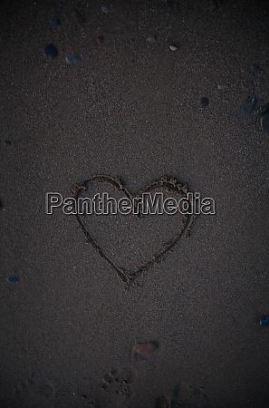 heart drawn in the sand beach