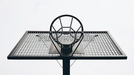 view from below metal basketball backboard
