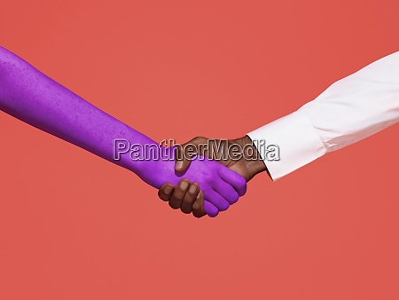 abstract handshake on red background