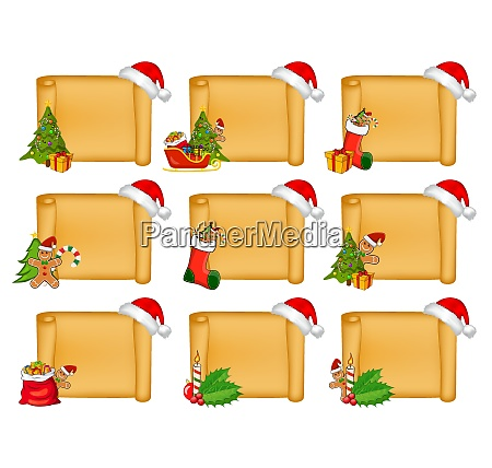 parchment scroll set with christmas decoration