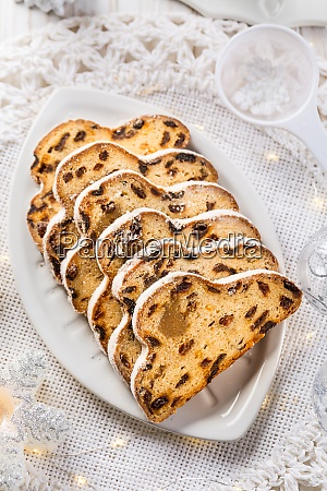 traditional christmas stollen with icing sugar