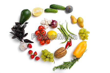 vegetables and fruits swirl white background