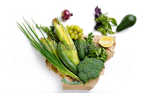 vegetables and fruits in paper bag
