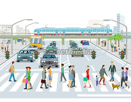 transport by elevated train bus and