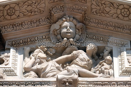 marble relief on the facade of