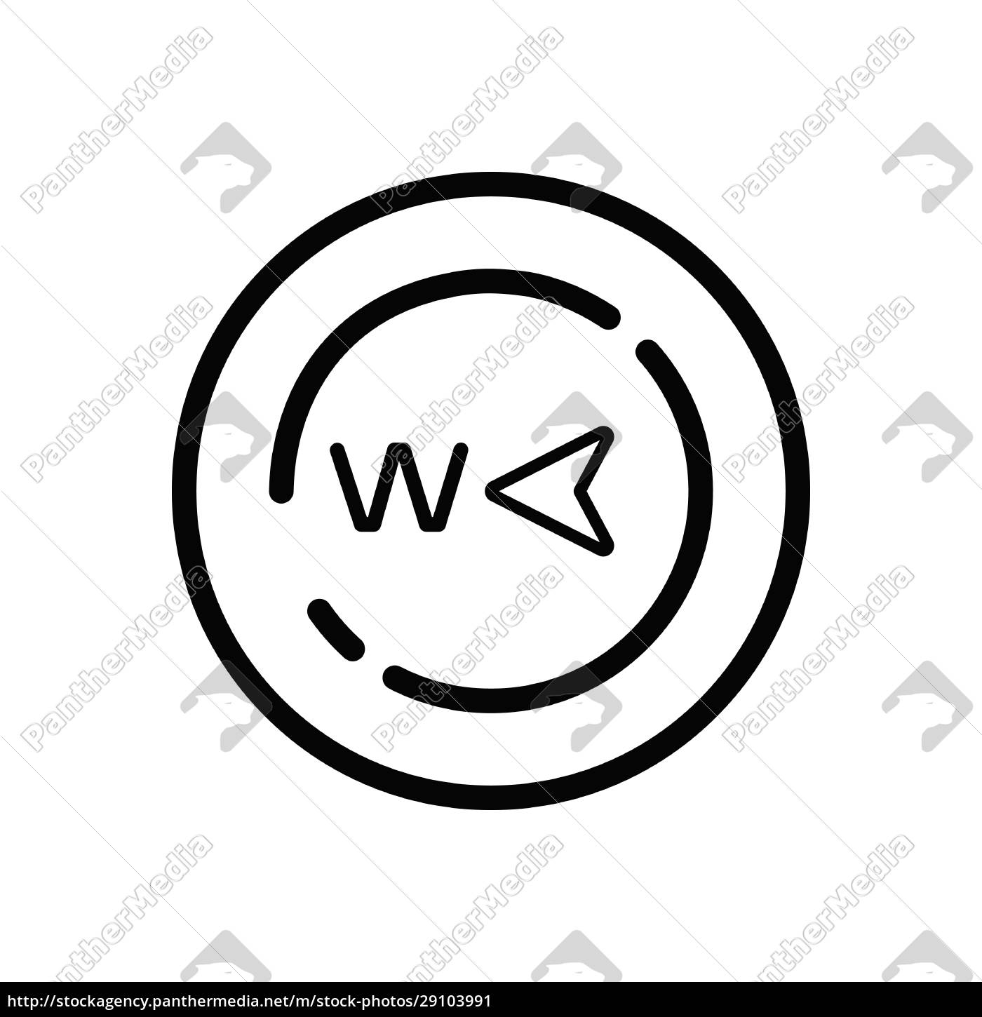 west, direction., weather, icon, in, a - 29103991