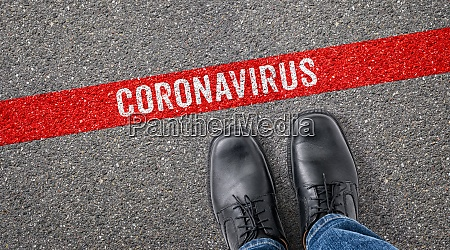red line on asphalt coronavirus