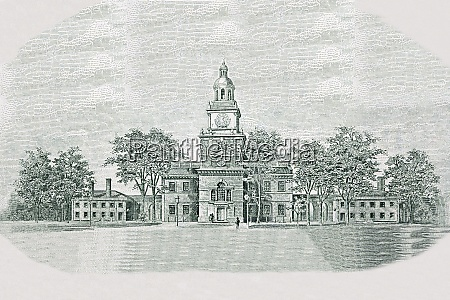 independence hall from old american money