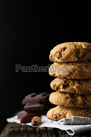 stack of chocolate chip cookies with