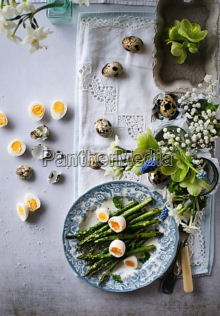 asparagus and quail eggs on easter